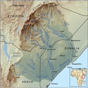 Shebelle River - Map of the Jubba/Shebelle drainage basin