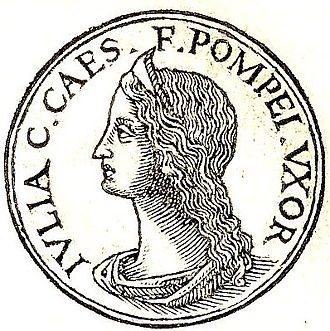 "Julia (daughter of Caesar) - Julia from Promptuarii Iconum Insigniorum. The inscription reads: ""Julia; Gaius Caesar's daughter; Pompey' wife."""