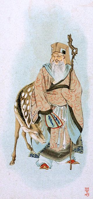 """<a href=""https://commons.wikimedia.org/wiki/File:Jurojin_with_deer.jpg#/media/File:Jurojin_with_deer.jpg"">Jurojin with deer</a>"" by native japanese - Mythological Japan : the symbolisms of mythology in relation to Japanese art, with illustrations drawn in Japan, by native artists (1902). Licensed under Public Domain via <a href=""https://commons.wikimedia.org/wiki/"">Commons</a>."