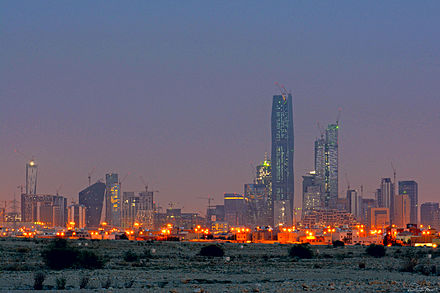 King Abdullah Financial Center is one of the largest investment centers in the Middle East, located in Riyadh KAFD seen from North east side of Riyadh City.jpg