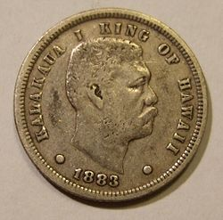 KINGDOM OF HAWAII, KALAKAUA I, 1883 -DIME b - Flickr - woody1778a.jpg