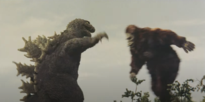 Crossover (fiction) - Battle sequence in King Kong vs. Godzilla showing the title characters fighting each other.
