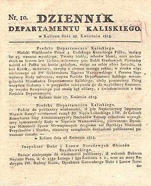 Kalisz Department - Dziennik Departamentu Kaliskiego, 1813