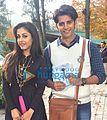 Karanvir Bohra and Priya Banerjee on the sets of Hume Tumse Pyaar Kitna.jpg
