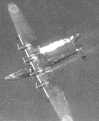 Kawanishi H6K - An H6K suffering from a wing tank fire descending.