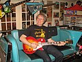 Keith on 57 chevy sofa Les Paul guitar 1835 5-1-2013.JPG