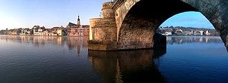 Kitzingen - Panorama of Kitzingen with Old Bridge on the Main River