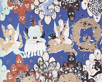Kizil Caves - Image: Kizil mural depicting disciples of Buddha