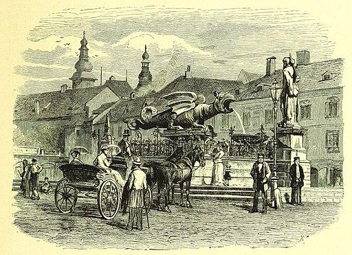 Klagenfurt - Lindwurmbrunnen, Holzstich um 1880
