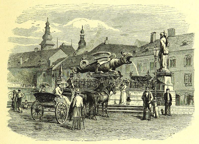 Klagenfurt - Lindwurmbrunnen, Holzstich um 1880.jpg