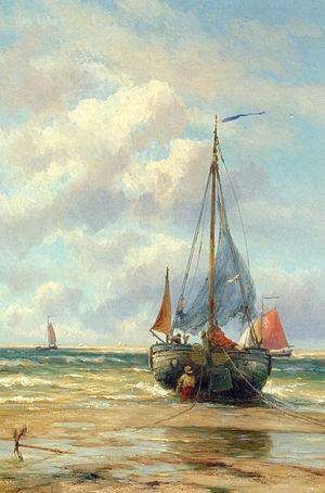 Johannes Hermanus Koekkoek - Image: Koekkoek Johannes Hermanus Barend A Bomschuit in the Breakers Oil On Canvas