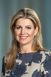 spouse of Willem-Alexander of the Netherlands; Queen consort of the Netherlands
