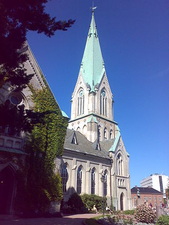 Kristiansand Cathedral, rebuilt in brick in 1885 after several fires ravaged the city in the 19th century Kristiansand Church.jpg