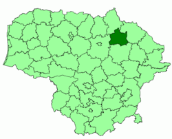 Location of Kupiškis district municipality within Lithuania