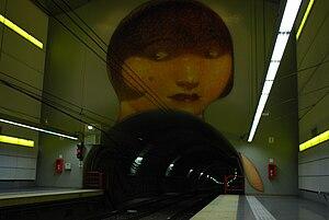 Venezuela (Buenos Aires Underground) - Image: Línea H, mural sobre el túnel en la estación Venezuela 02 (Buenos Aires, noviembre 2008)
