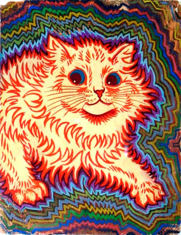 Psychotic cat by Louis Wain.