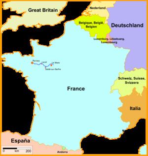 LGV Bretagne-Pays de la Loire - Map of the LGV Bretagne-Pays de la Loire.