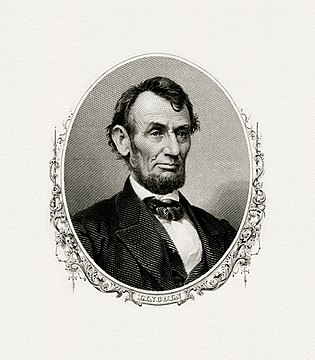 Bureau of Engraving and Printing engraved portrait of Lincoln as President