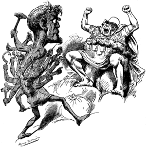 Hecatoncheires - The Hecatonchir Briareos used as an allegory of the multiple threat of labour unrest to Capital in a political cartoon, 1890