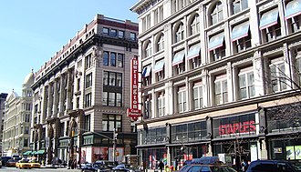 Sixth Avenue - The historic Ladies' Mile shopping district that thrived along Sixth Avenue left behind some of the largest retail spaces in the city.  Beginning in the 1990s, the buildings began to be reused after being dormant for decades.