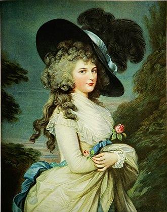Georgiana Cavendish, Duchess of Devonshire - Portrait painting by Thomas Gainsborough (18th century)