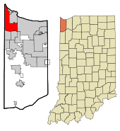 Lake County Indiana Incorporated and Unincorporated areas Hammond Highlighted.svg