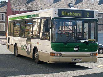 Blackburn Bus Company - Spot on liveried Plaxton Pointer Dennis Dart in Darwen in March 2008