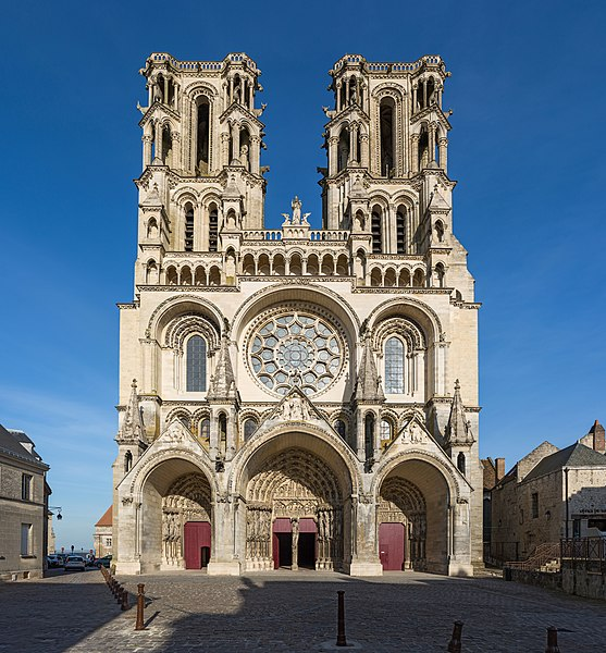 The exterior West front of Laon Cathedral in Picardy, France.