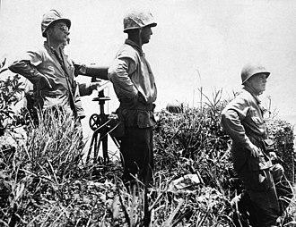 Simon Bolivar Buckner Jr. - The last picture of Buckner (right), taken just before he was killed by a Japanese artillery shell.