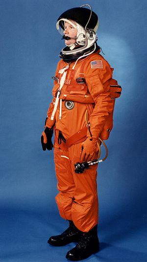 Launch Entry Suit - LES Suit modeled by technician.
