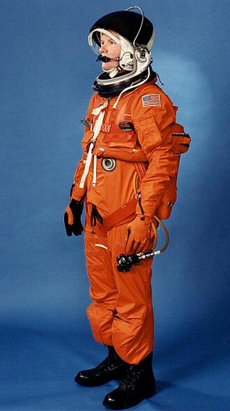 Launch Entry Suit - LES Suit modeled by technician.