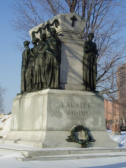 Wilfrid Laurier's grave, sculpted by Alfred Laliberte, in Notre Dame Cemetery, Ottawa Laurier monument Feb 2005.jpg