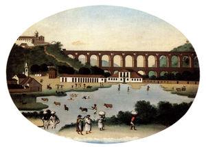 Vista do Aqueduto da Carioca (Leandro Joaquim, c. 1790). A lagoa, em primeiro plano, foi aterrada para a construção do Passeio Público. O edifício no alto do morro é o Convento de Santa Teresa.
