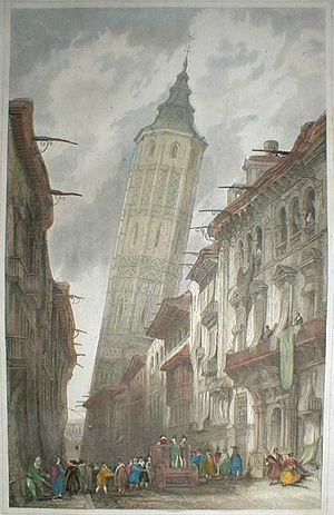 Leaning Tower of Zaragoza - Painting of the Leaning Tower of Zaragoza in 1838 by Scottish painter David Roberts.