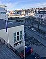 Leirvik, Stord, Norway, seen from Grand Hotell. Harbour, Samson på Kaien, Oma Slipp Sjøhuset, Bytunet, cars in Osen, etc. 2018-03-10 b.jpg