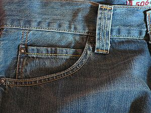 Levi's 506 jeans, front pocket with watch pocket.