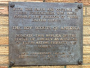 Strengthen the Arm of Liberty Monument (Overland Park, Kansas) - Placard on base of statue