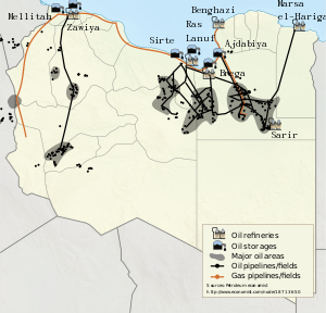 Libyan oil field and pipeline, 2011.
