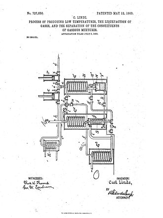 Hampson–Linde cycle - The 1895 patent.