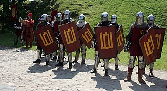 Battle of Grunwald - A modern re-creation of 14th– and 15th-century Lithuanian heavy infantry (Columns of Gediminas on shields).