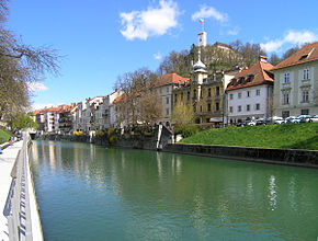 Ljubljana - Gallus waterfront and river Ljubljanica.JPG