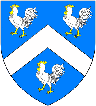 Thomas Lloyd (lieutenant governor) - Arms of Lloyd of Dolobran, Montgomeryshire, Wales (of which family were the Lloyd Quakers, bankers (Lloyds Bank) and steel manufacturers of Birmingham and Baron Lloyd of Dolobran: Azure, a chevron between three cocks argent armed crested and wattled or