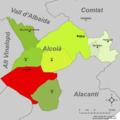 Localització de Castalla respecte l'Alcoià.png
