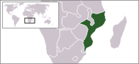 A map showing the location of Mozambique