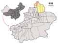 Location of Burqin within Xinjiang (China).png