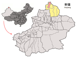 Location of Burqin County (red) in Altay Prefecture (yellow) and Xinjiang