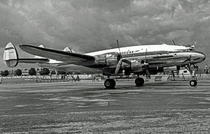 South African Airways - SAA Lockheed Constellation arriving at Heathrow in 1953