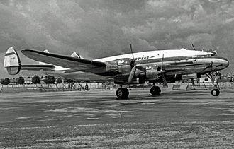 South African Airways - SAA Lockheed Constellation arriving at Heathrow in 1953