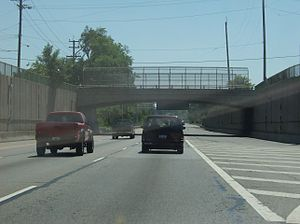 Lockland, Ohio - Interstate 75 passes through the old canal way in Lockland.