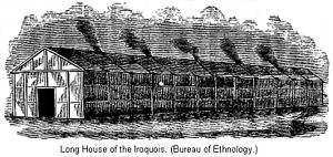 Longhouses of the indigenous peoples of North America - Later day Iroquois longhouse (c.1885) 50-60 people